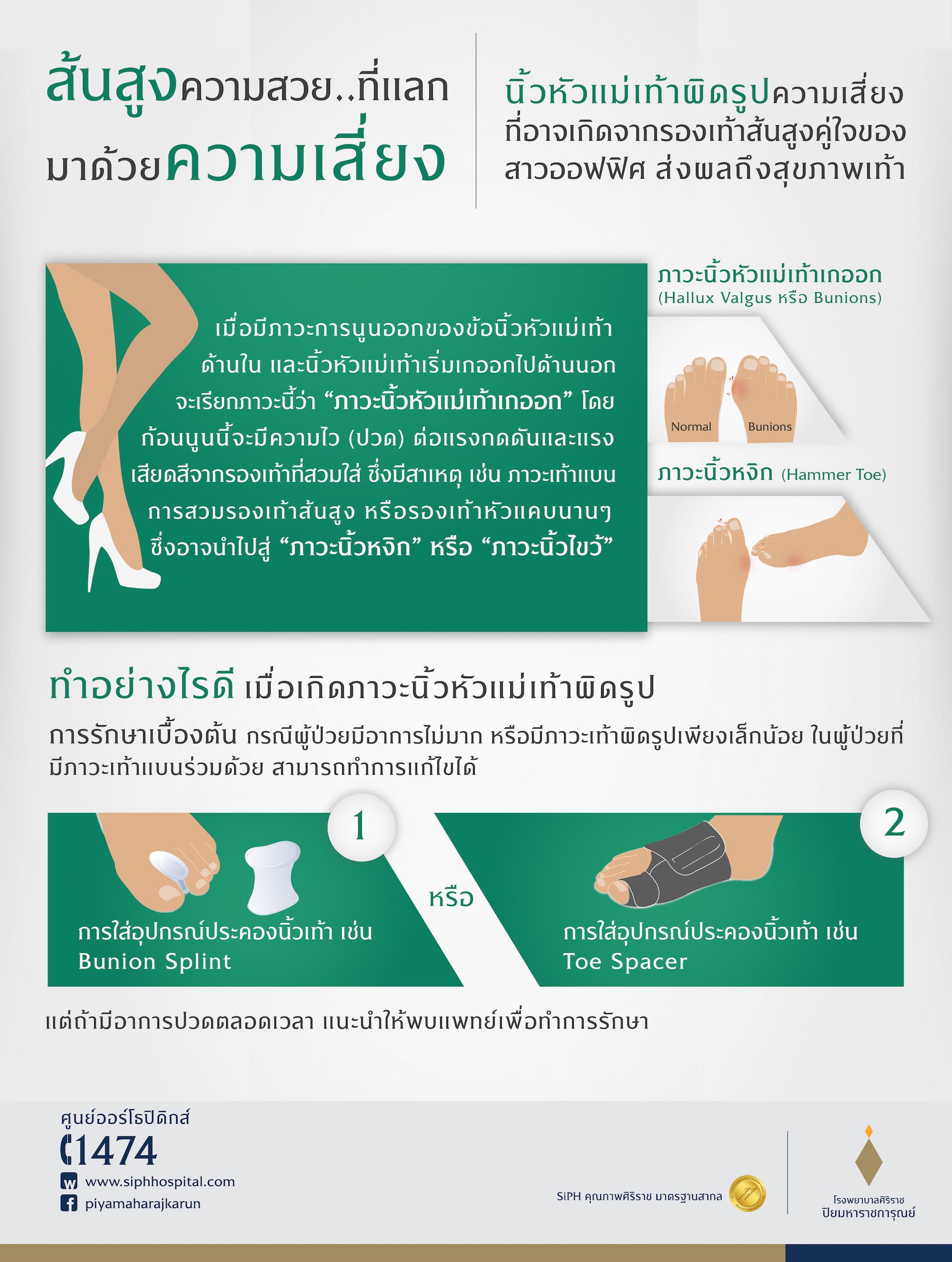 #ศูนย์ออร์โธปิดิกส์ #โรงพยาบาลศิริราช ปิยมหาราชการุณย์ #ใส่ส้นสูงนานๆ #นิ้วหัวแม่เท้าผิดรูป #รองเท้าส้นสูง #สุขภาพเท้า #นิ้วหัวแม่เท้าเก #นิ้วเท้าหงิก #นิ้วเท้าไขว้ #ปวดเท้า #รักษานิ้วเท้าผิดรูป #นิ้วหัวแม่เท้าผิดรูป การรักษา #Hallux Valgus